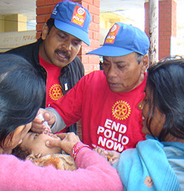 A child is immunized against polio in Nepal.